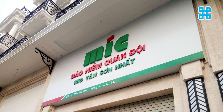 bảng hiệu công ty bảo hiểm quận đội tại đường Phan Văn Trị, Gò Vấp