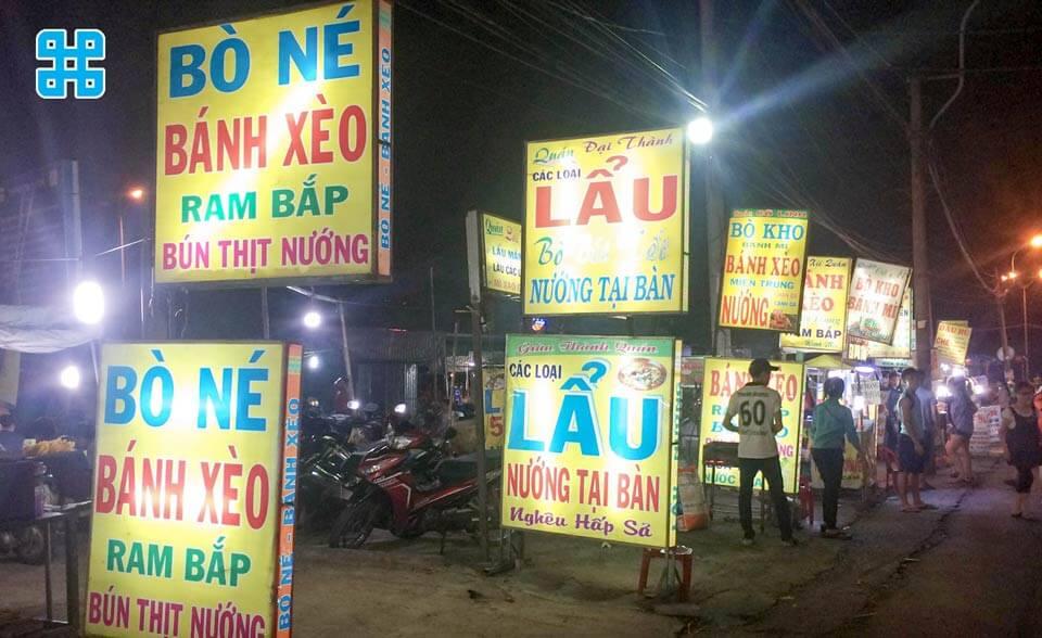 bảng hiệu quán ăn hiflex giá rẻ tại làng đại học - mẫu 6