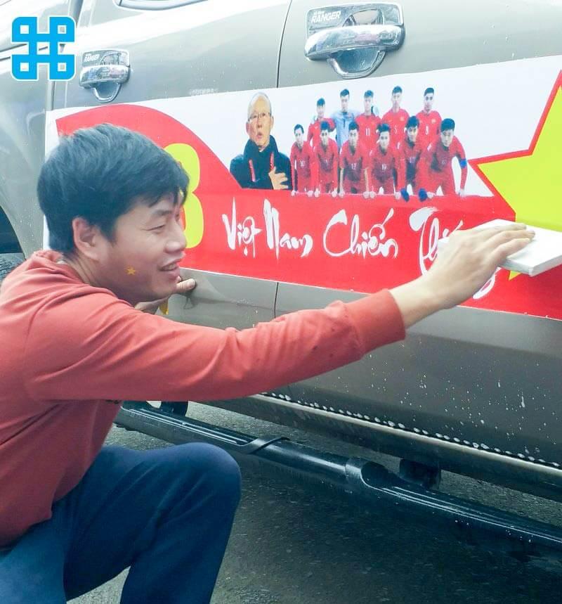 băng rôn cổ vũ bóng đá cho thầy trò HLV Park Hang Seo