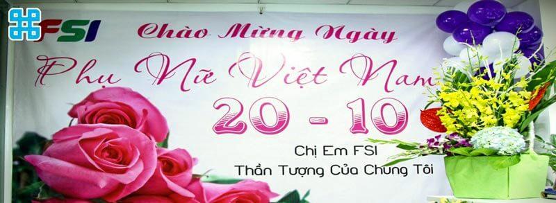 Băng rôn kỷ niệm ngày phụ nữ Việt Nam 20/10