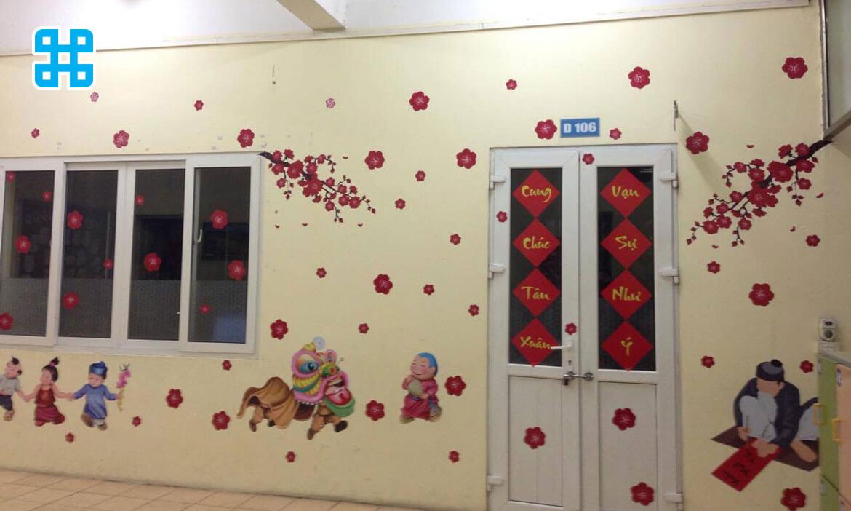 decal dán tường trang trí tết