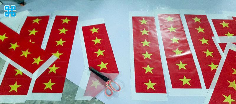 In cờ Việt Nam trên chất liệu vải Patex Silk