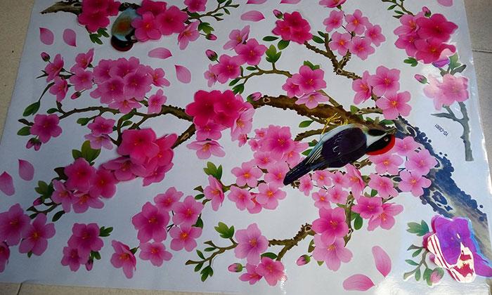 Mẫu hoa đào và chim chén rộn ràng