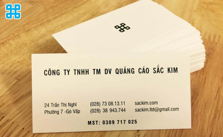name card của công ty in ấn Sắc Kim