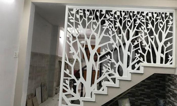 hoa văn cnc gỗ dựng ở cầu thang
