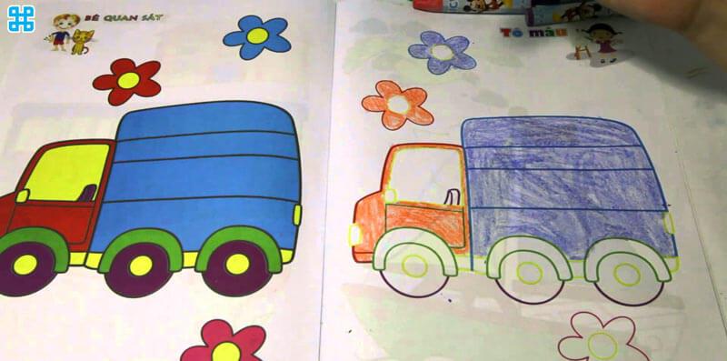 Ảnh thực tế tranh tô màu xe của bé 5 tuổi