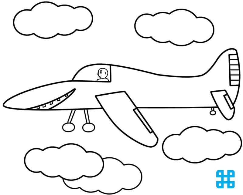 Hình tô màu máy bay và phi công