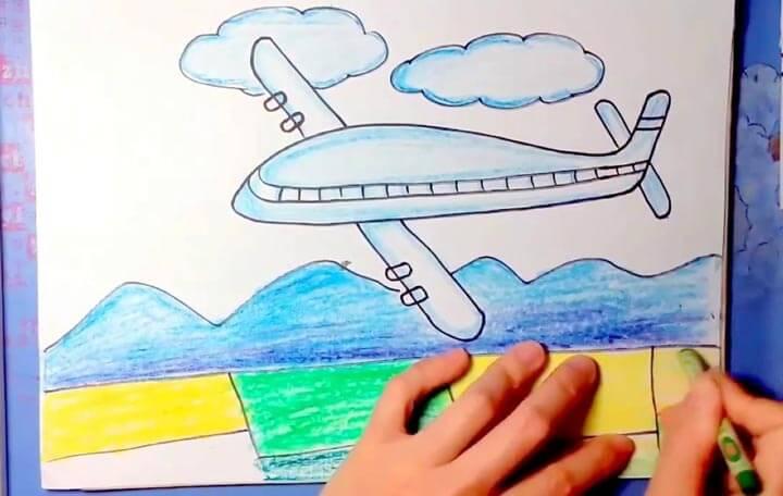 In tranh tô màu máy bay