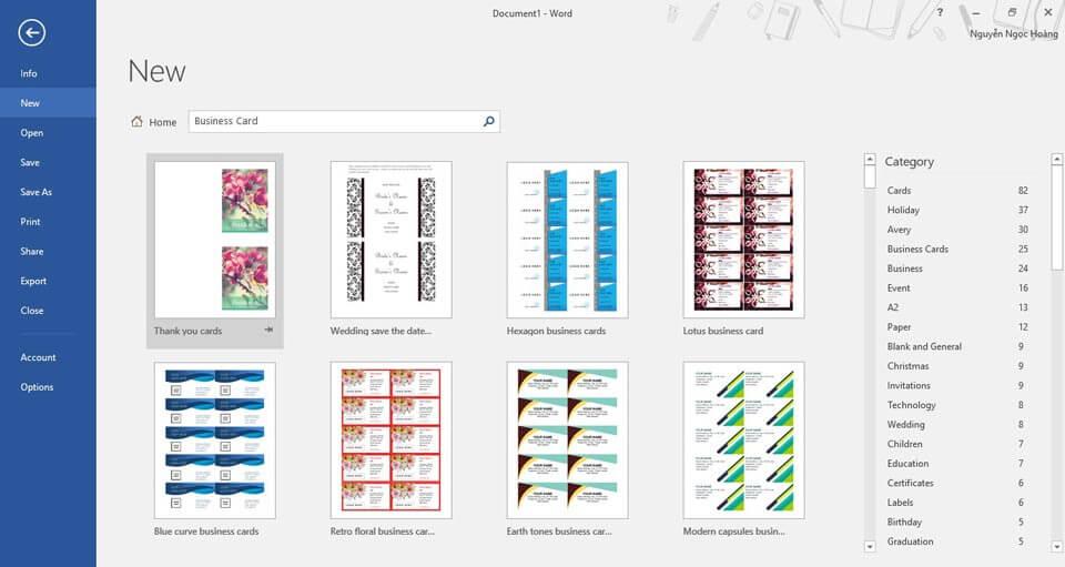Search Business Card trên khung Search New và chọn mẫu nào mình thích