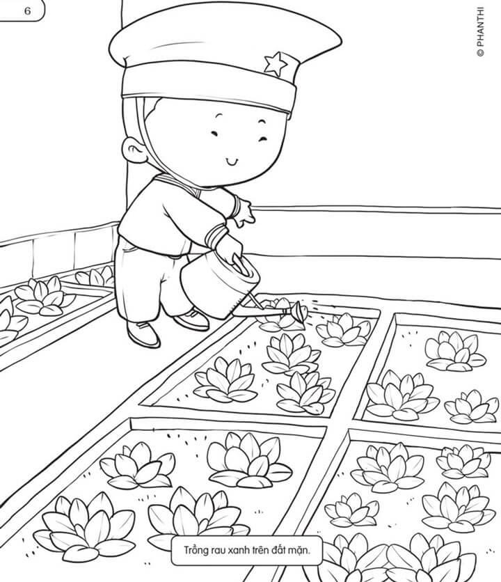 Tranh tô chú bộ độ đang làm vườn rau