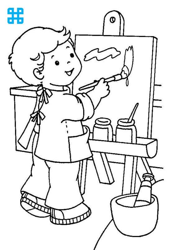 Tranh tô em bé vẽ trong trường mầm non
