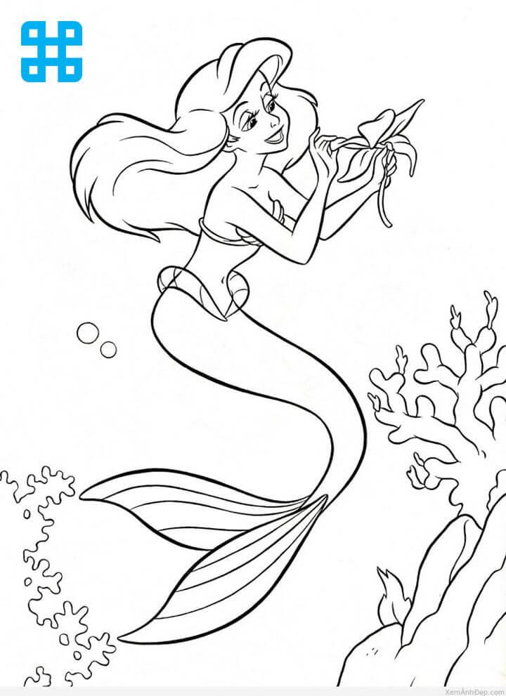 Tranh tô màu công chúa bị hóa thành nàng tiên cá