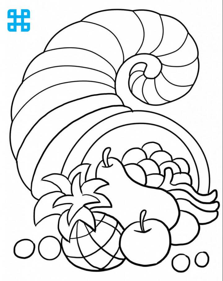 Tranh tô màu ốc và hoa quả