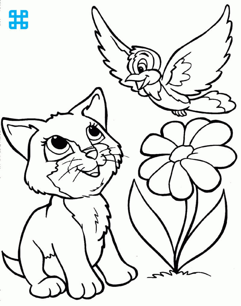Tranh tô mèo và chú chim non