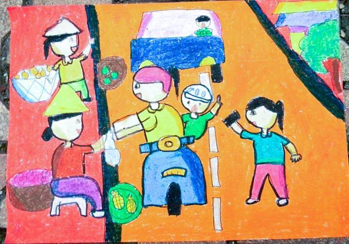 Vẽ tranh màu an toàn giao thông