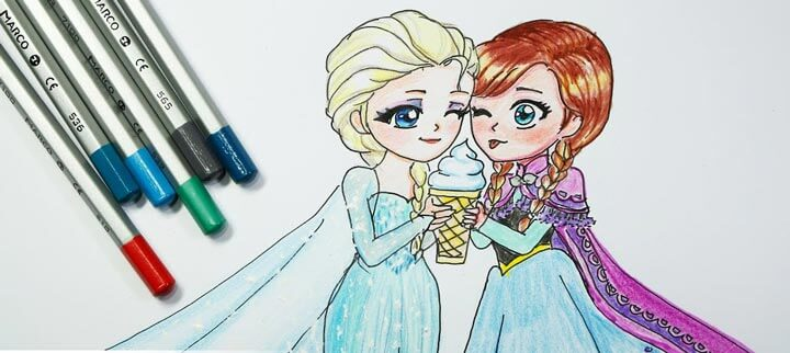 Vẽ tranh tô màu công chúa Elsa