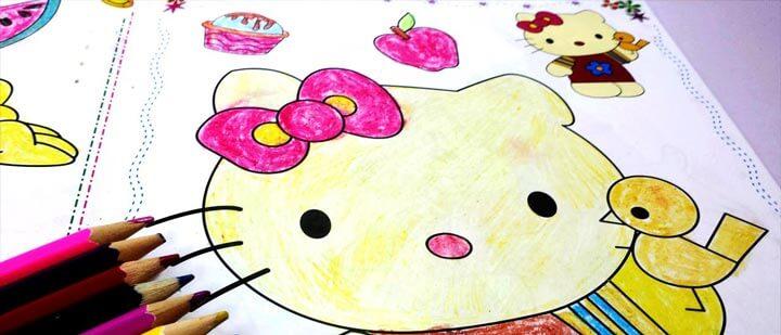 Vẽ tranh tô màu Hello Kitty
