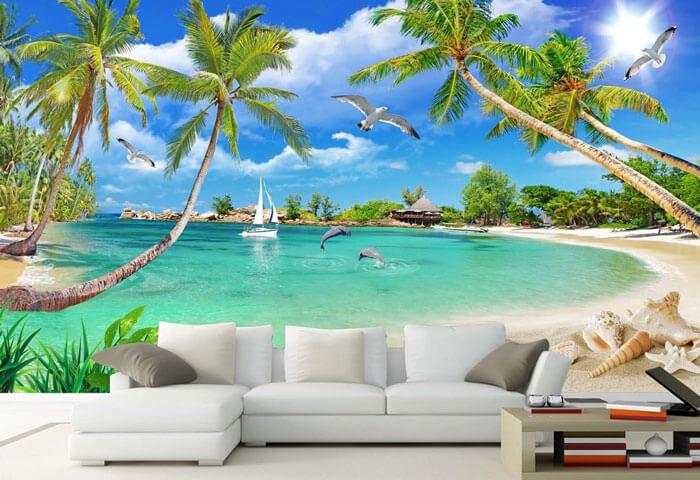 Tranh phong cảnh dán tường phòng khách