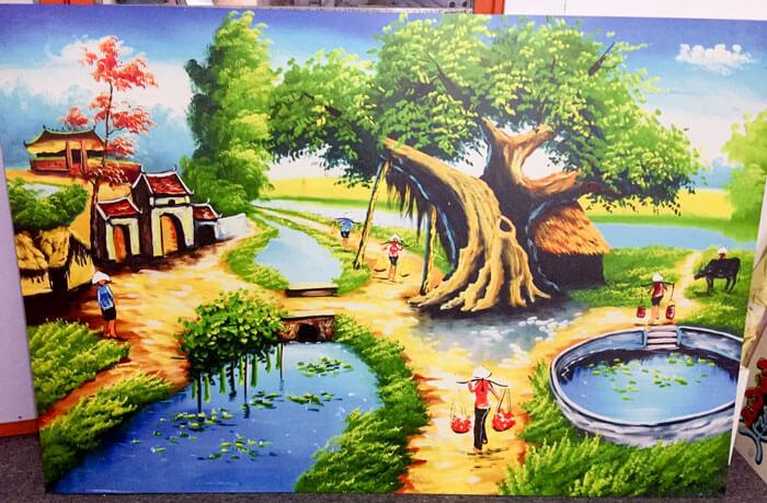 In tranh phong cảnh làng quê Việt Nam