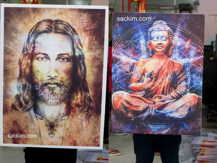 Mẫu in tranh vải canvas kim tuyến hình chúa Jesus và hình Phật