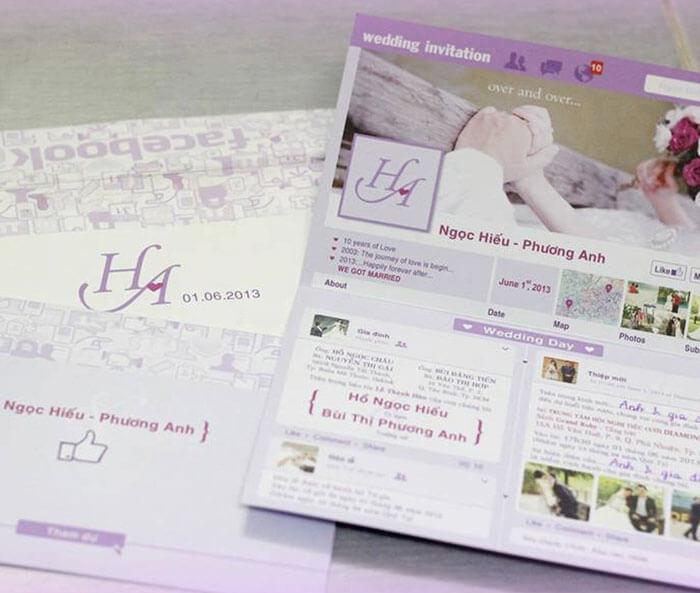 Mẫu thiệp cưới TPHCM đẹp mắt được làm từ ý tưởng trang bìa facebook