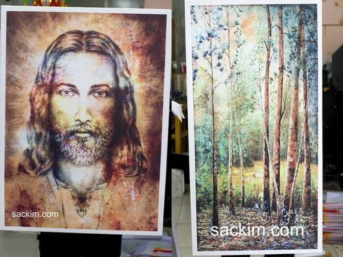 Tranh treo canvas kim tuyến hình chúa và phong cảnh