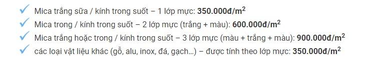 Bảng giá in uv trên mica