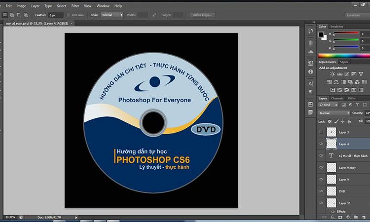 Giao diện phần mềm làm logo, tem nhãn bao bì Photoshop