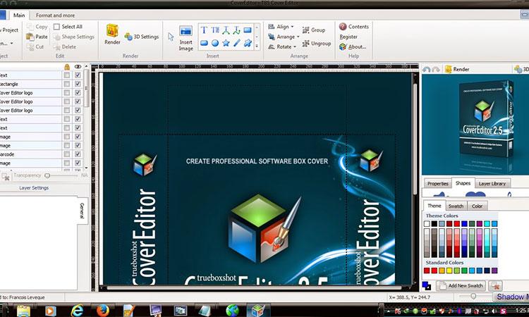 Giao diện phần mềm thiết kế tem nhãn, bao bì miễn phí - Tbs cover editor