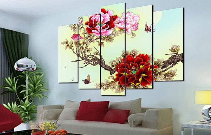 Bộ tranh hoa mẫu đơn màu đỏ treo trong nhà cực đẹp