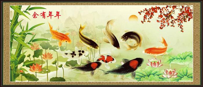 Cửu ngư quần hội là loại tranh thích hợp cho tuổi Sửu mệnh Thủy