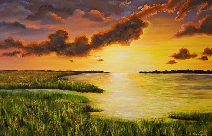 Mẫu tranh mặt trời mọc