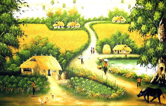 Nếu tranh ruộng lúa xanh thích hợp với người mệnh Mộc thì đồng lúa vàng thích hợp cho người mệnh Thổ