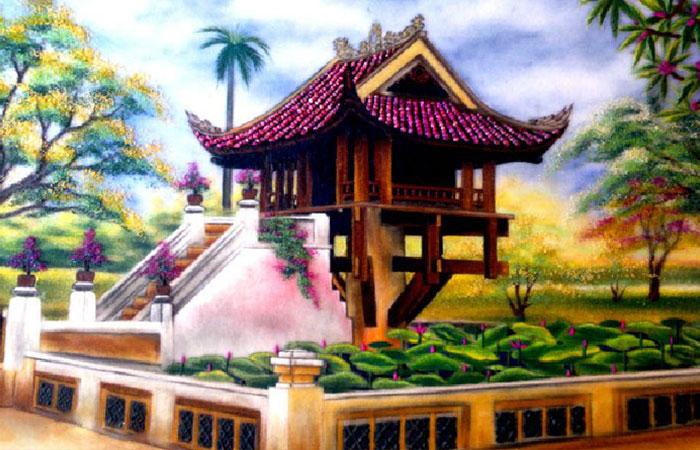 Những bức tranh về ngôi chùa hoặc về phật giáo cũng rất thích hợp với người mệnh Thổ