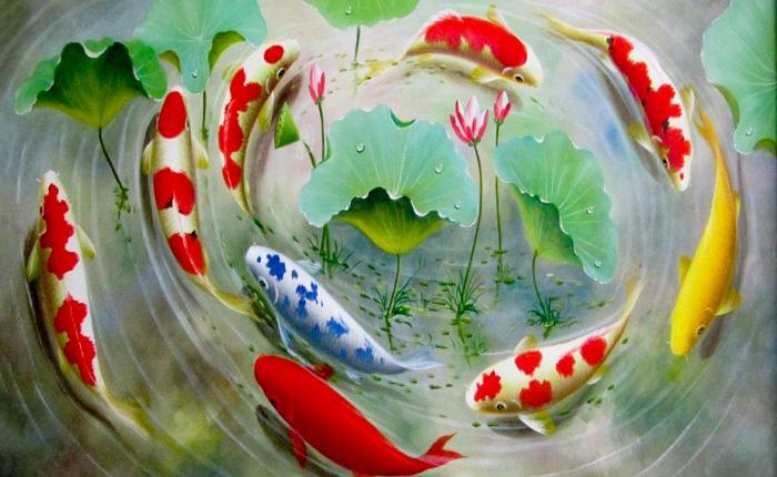 Tranh cá chép và biểu tượng sự thịnh vượng của người Trung Hoa