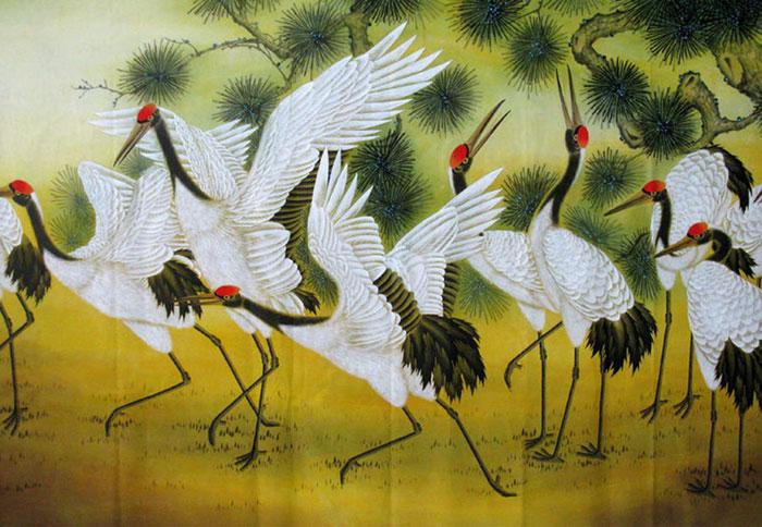 Tranh chim màu trắng đại diện cho Kim, đậu trên đất đại diện cho Thổ