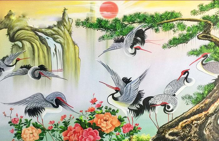 Tranh chim tùng hạc và mặt trời