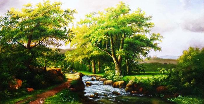 Tranh có chứa yếu tố Thủy và Mộc rất dễ chọn và phù hợp với tuổi Tân Sửu