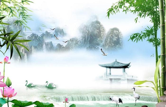 Tranh có thiên nhiên mây trắng và hoa sen cũng thích hợp cho người Quý Mão mệnh Kim