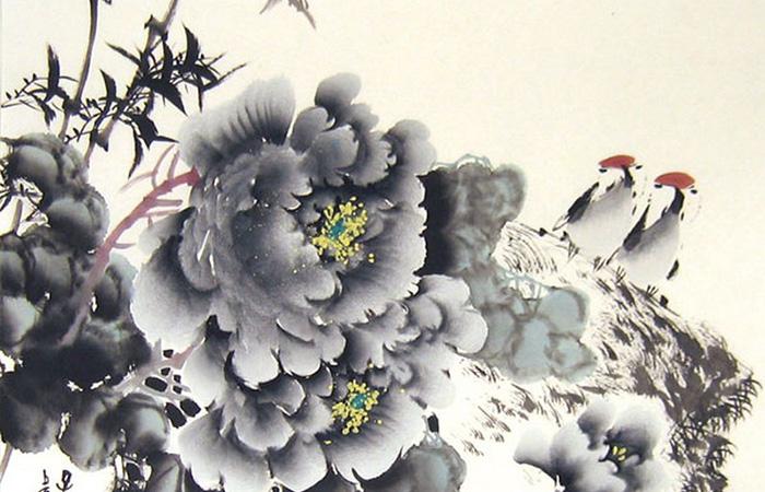 Tranh đôi chim đậu trên nhành hoa mận trắng