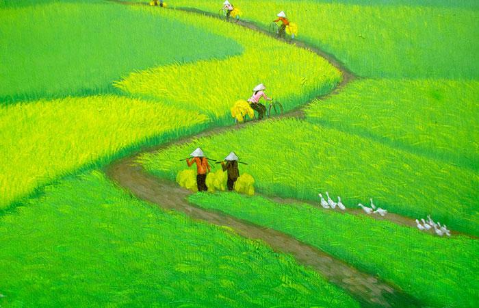 Tranh đồng lúa xanh rờn thế này rất thích hợp với những gia chủ có tương sinh mệnh Mộc