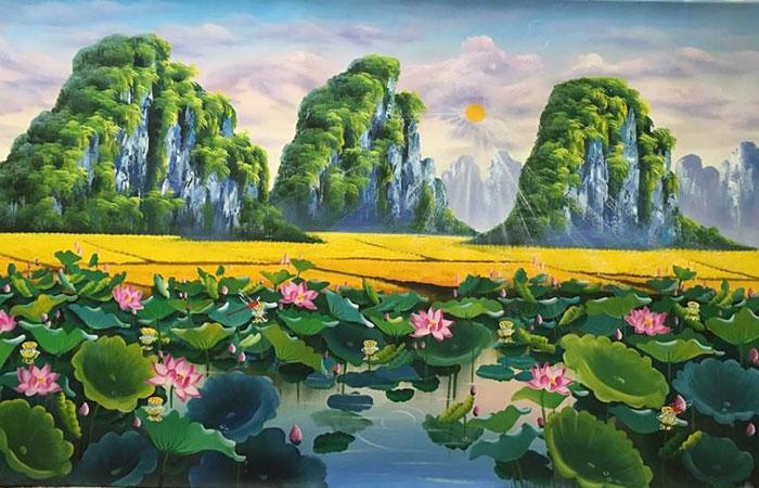 Tranh hoa sen và hồ nước là tranh phong thủy cho người tuổi Thân mệnh Thủy