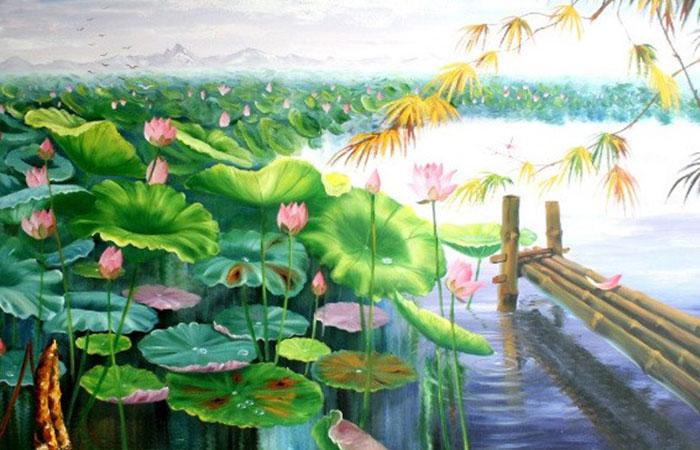 Tranh hoa sen và hồ nước