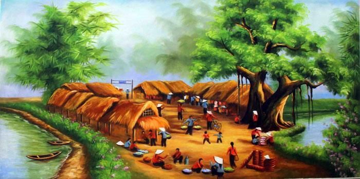 Tranh làng quê mang đậm yếu tố Thổ