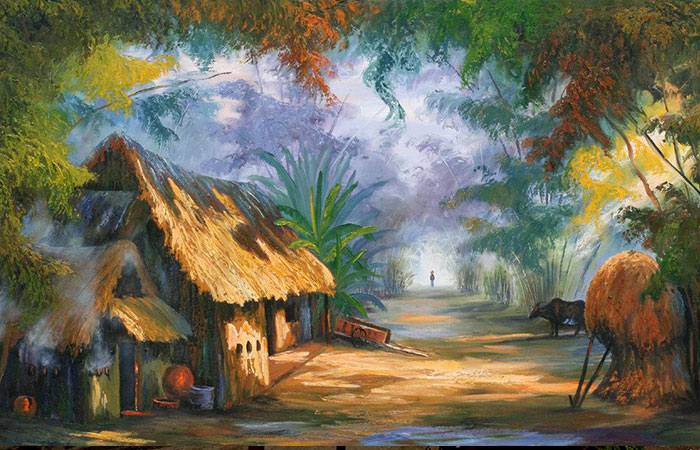Tranh làng quê Việt Nam mang nhiều yếu tố đất đai => thích hợp với mệnh Thổ