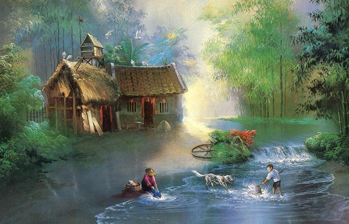 Tranh phong thủy làng quê Việt Nam