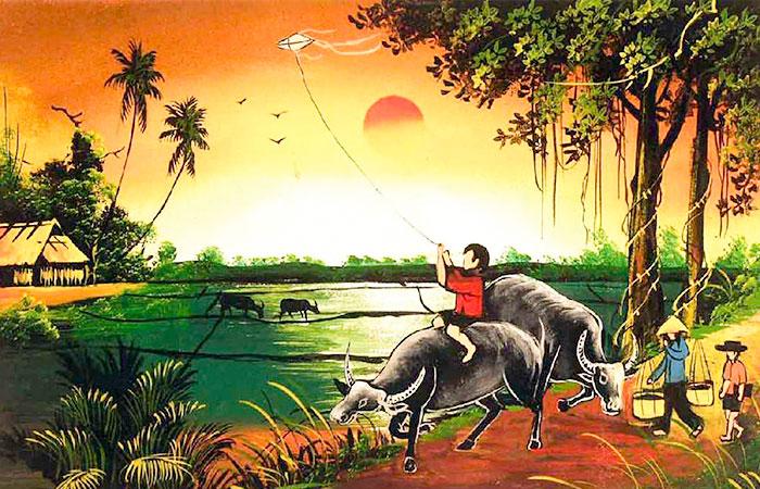 Tranh phù hợp với người tuổi Dậu tương sinh mệnh Thổ - tranh làng quê Việt Nam