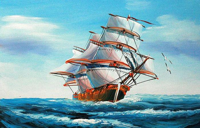 Tranh thuận buồm xuôi gió thích hợp với tất cả gia chủ có mệnh Thủy