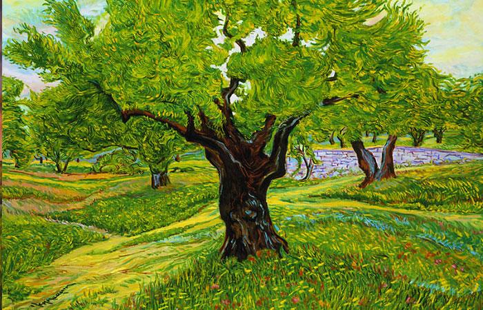 Tranh về cây hoặc rừng cây sẽ thích hợp với những người tuổi Dậu có tương sinh mệnh Hỏa