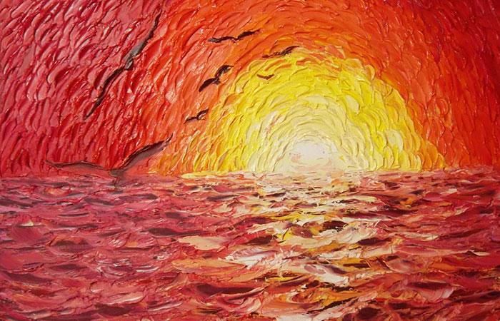 Tranh về mặt trời là tranh phong thủy dành cho người tuổi Mão mệnh Hỏa